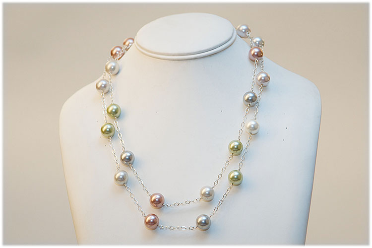 Multicolored sweet water pearls on sterling silver chain