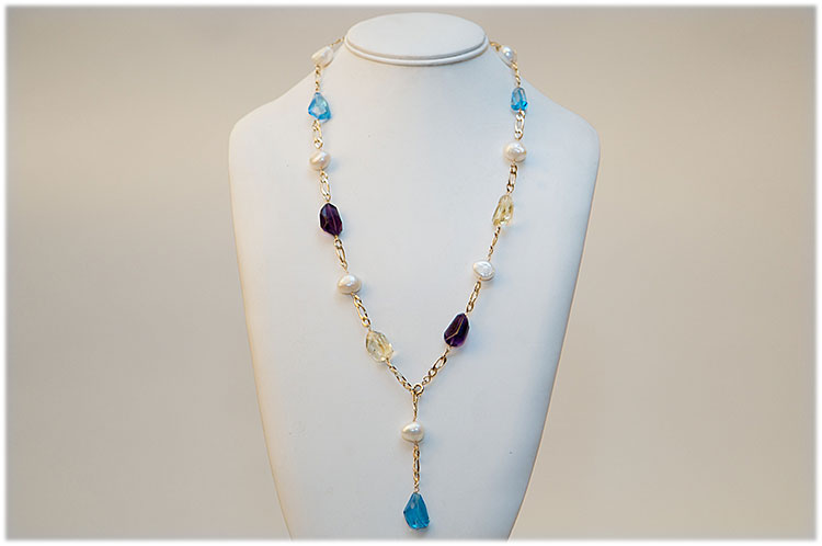 London blue topaz, citrine ,amethyst and pearl necklace