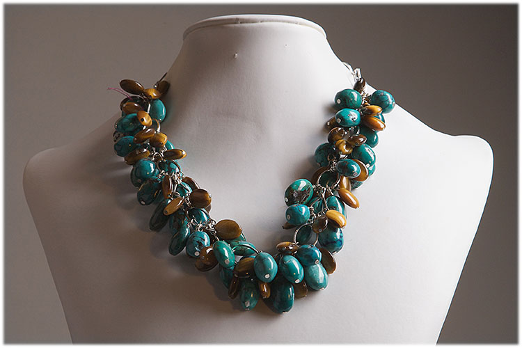 Turquoise and tiger eye drop necklace