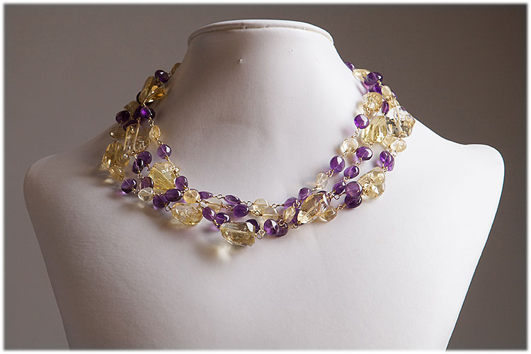 4 strand Citrine and amethyst necklace