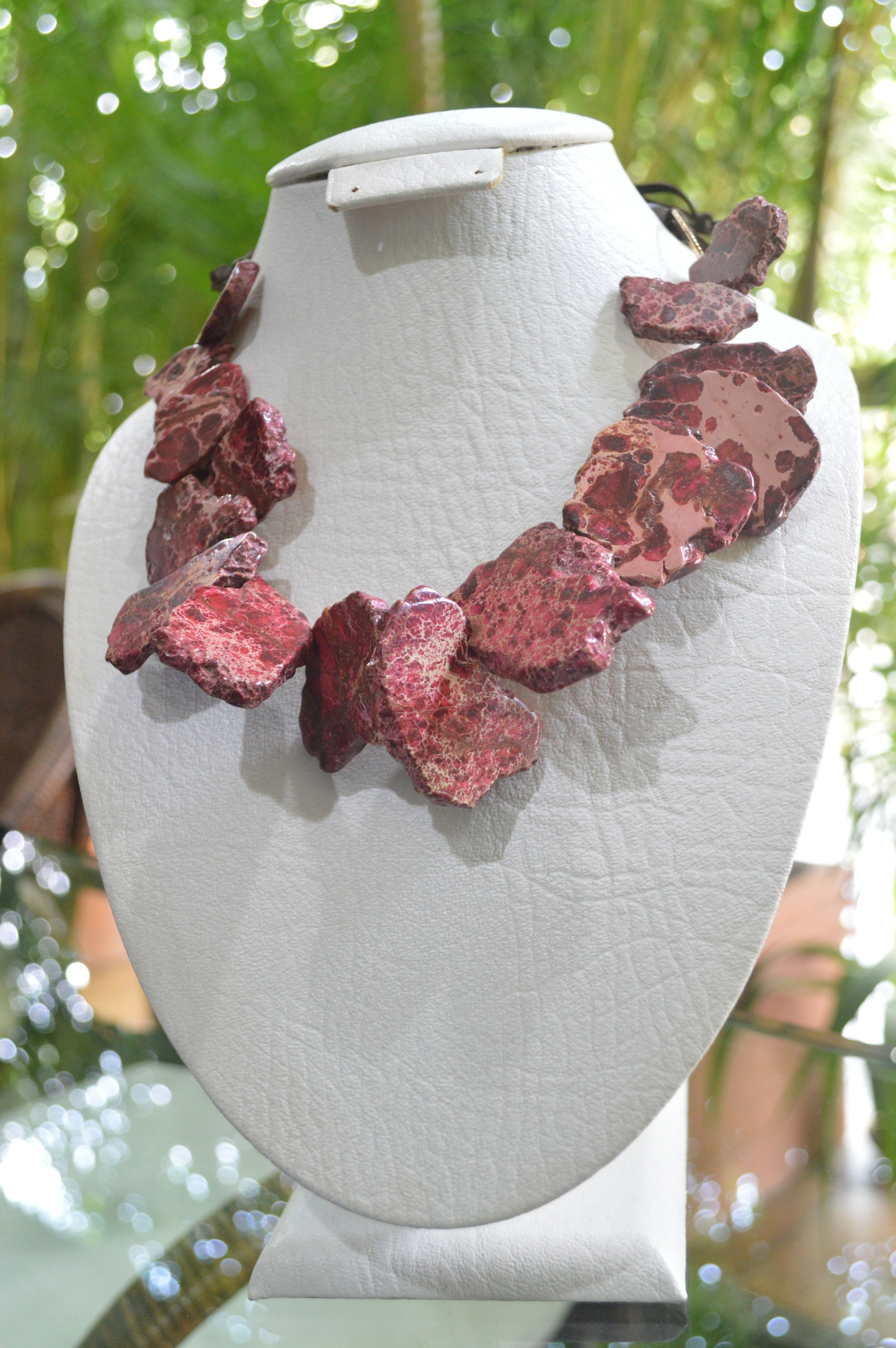 Dep red freeform jasper necklace with leather cord