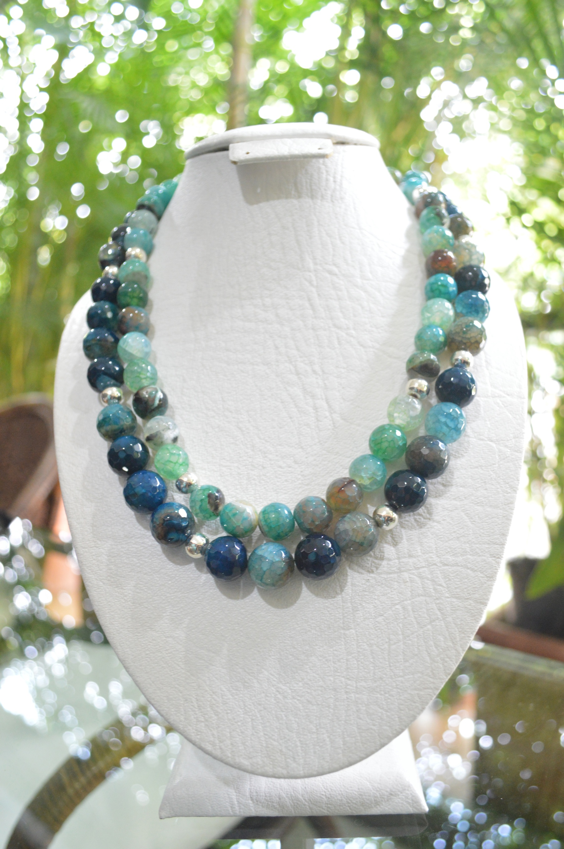 Two strand blue and green agate necklace with sterling silver