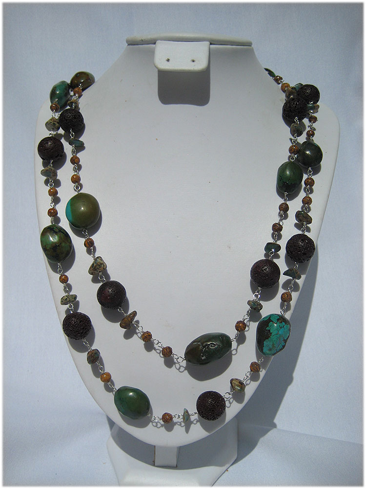 Multi colored turquoise and brown lava rock bead necklace